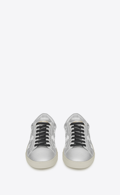 SAINT LAURENT SL/06 Man signature court sl/06 california sneaker in silver and optic white leather b_V4