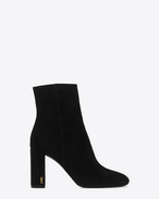 SAINT LAURENT Loulou D LOULOU 95 Ankle Boot mit Zip in schwarzem Wildleder f