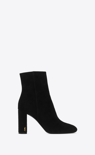SAINT LAURENT Loulou D LOULOU 95 Zipped Ankle Boot in Black Suede a_V4