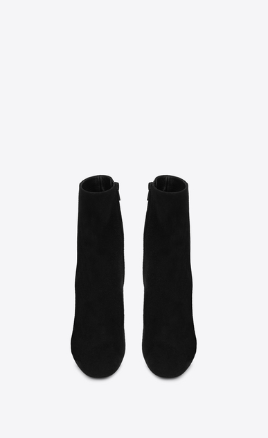 SAINT LAURENT Loulou D LOULOU 95 Zipped Ankle Boot in Black Suede b_V4