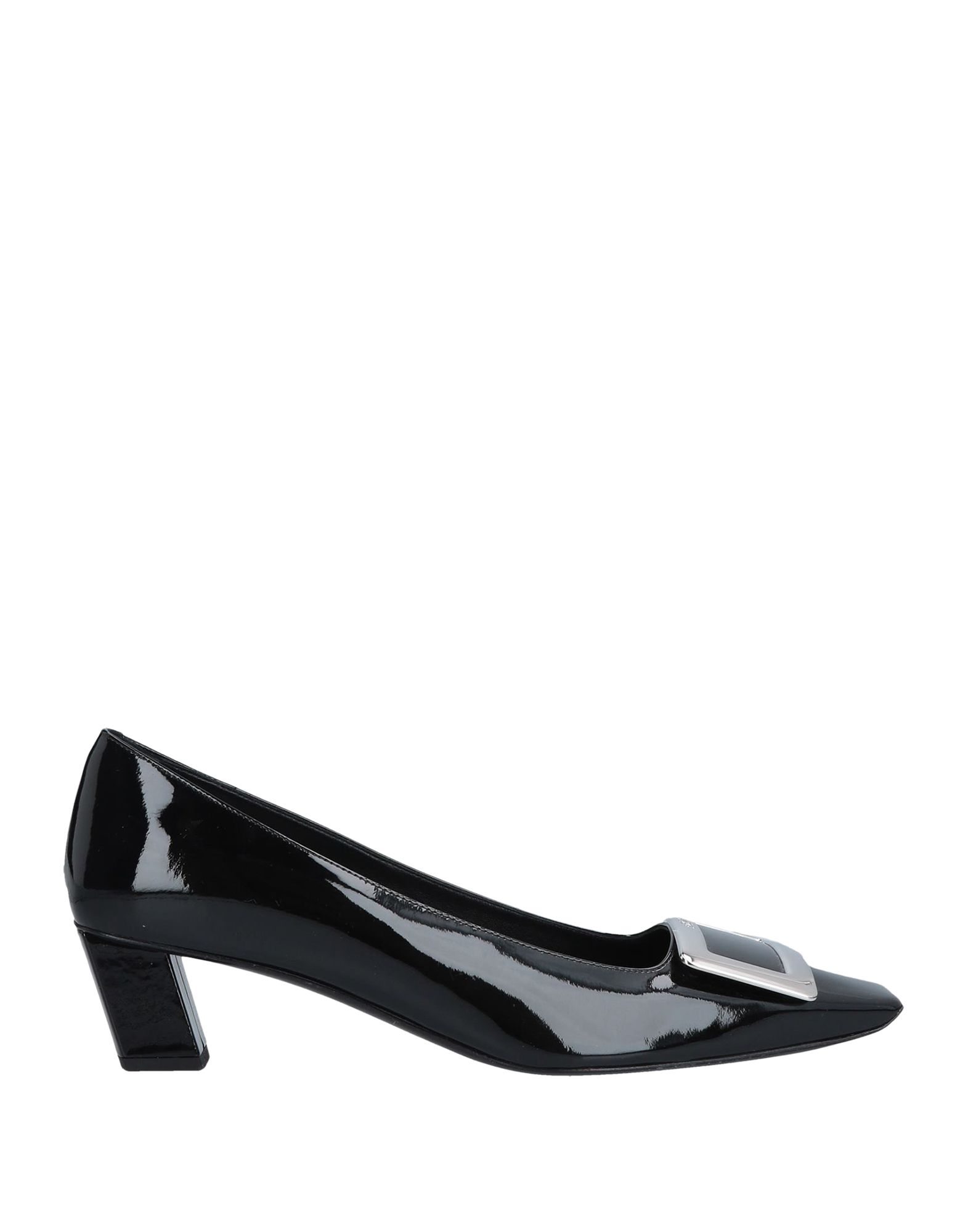 ROGER VIVIER Pumps. varnished effect, metal applications, logo, solid color, square toeline, leather lining, leather sole, square heel, covered heel, contains non-textile parts of animal origin. Soft Leather