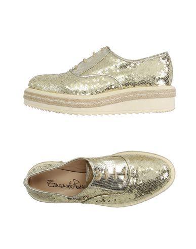 EMANUELA PASSERI Chaussures à lacets femme. paillettes, uni, pointe arrondie, doublure en cuir, semelle en caoutchouc, talon compensé, c