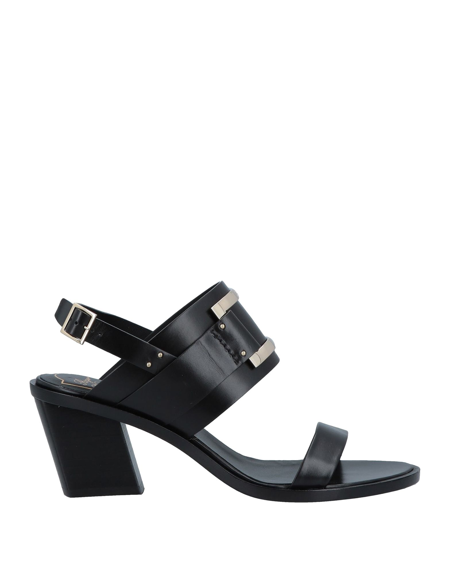 ROGER VIVIER Sandals. logo, metal applications, solid color, buckle, round toeline, leather lining, leather sole, geometric heel, contains non-textile parts of animal origin. Soft Leather