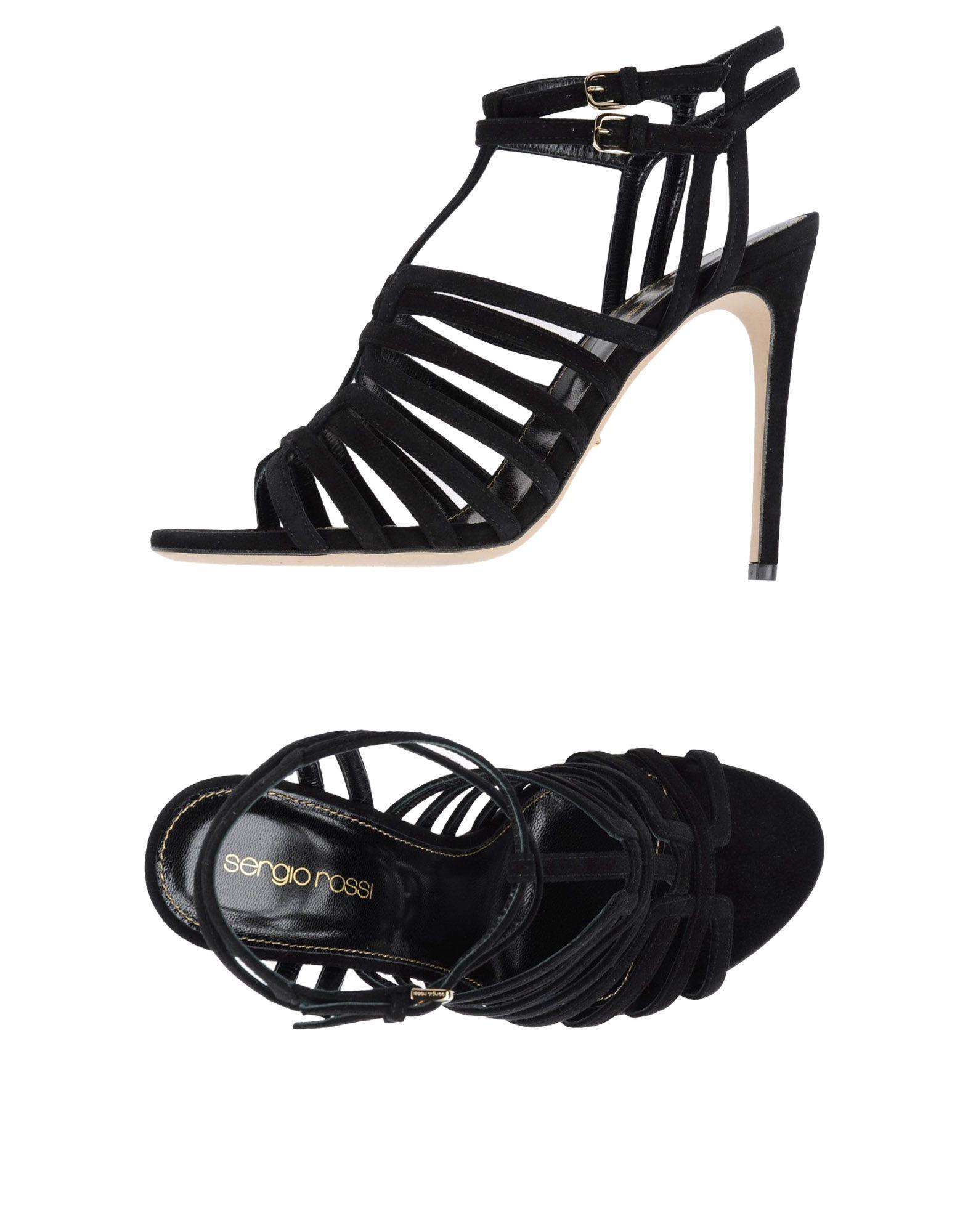 SERGIO ROSSI Damen Sandale Farbe Schwarz Größe 12 jetztbilligerkaufen