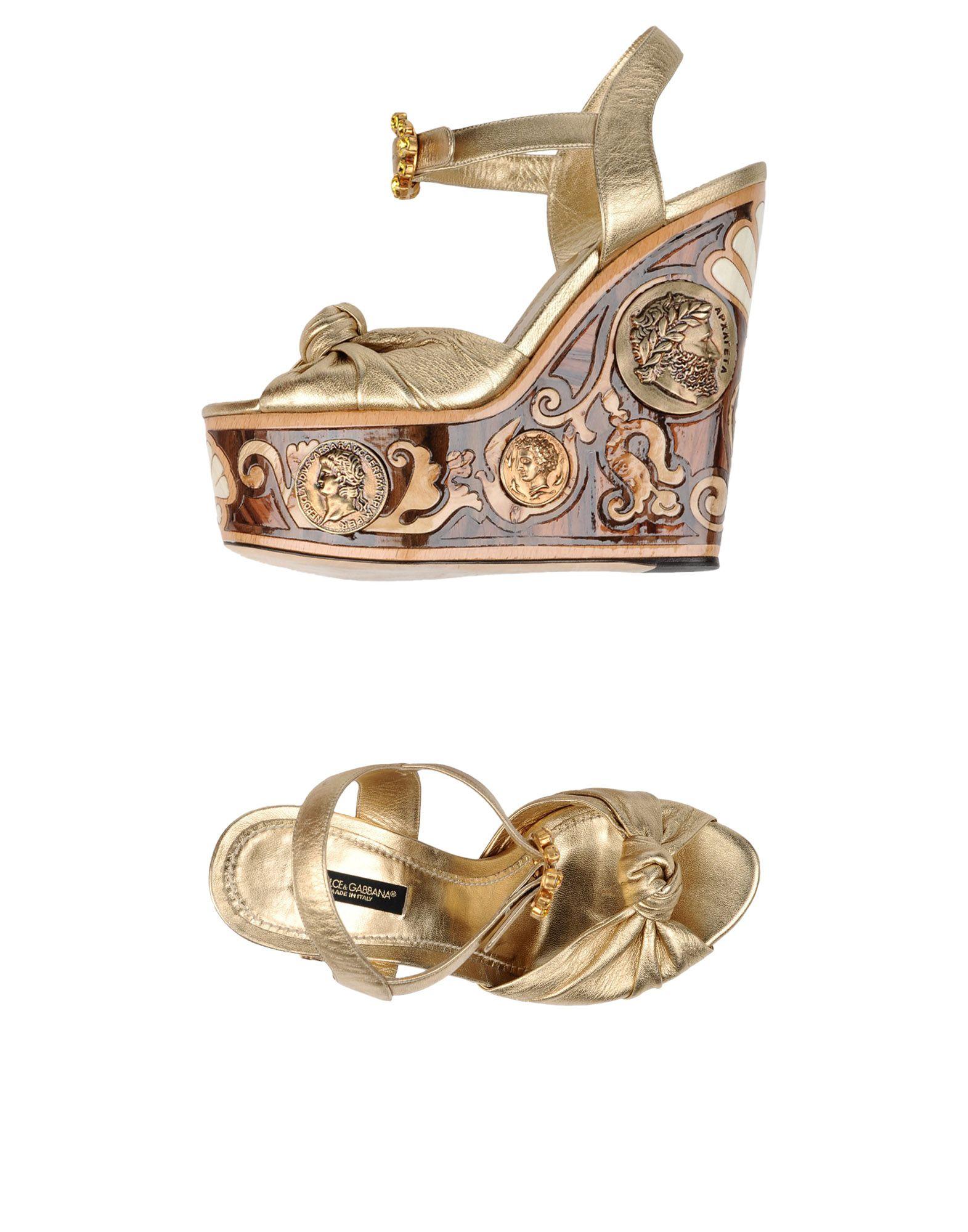 DOLCE & GABBANA Damen Sandale Farbe Gold Größe 10 jetztbilligerkaufen