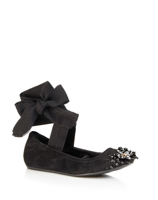 lanvin embroidered ballet flat with bow women