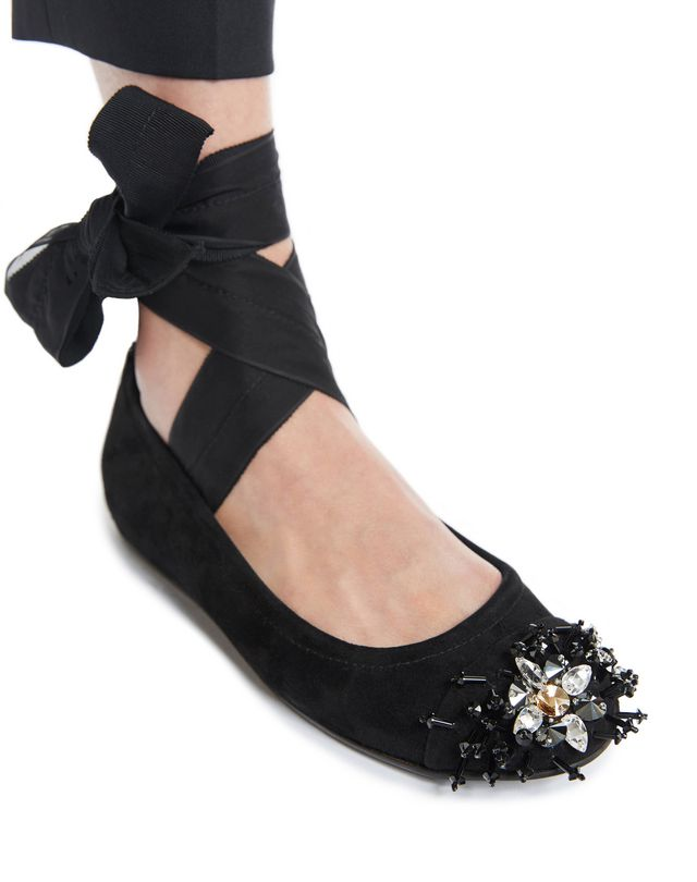 LANVIN EMBROIDERED BALLET FLAT WITH BOW Ballerinas D d