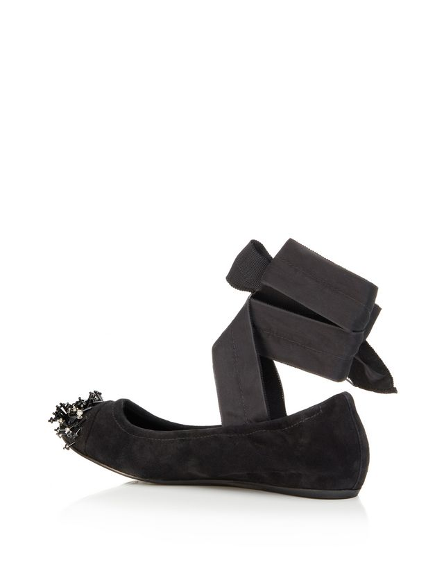 LANVIN EMBROIDERED BALLET FLAT WITH BOW Ballerinas D r