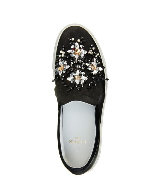 lanvin embroidered slip-on sneaker women