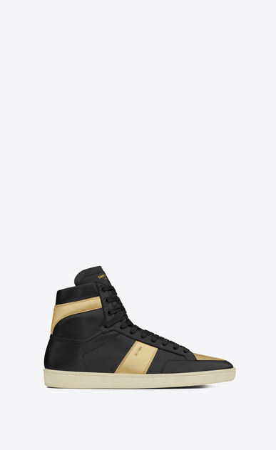 SAINT LAURENT SL/10H U signature court classic sl/10h high top sneaker in black leather and gold metallic leather a_V4