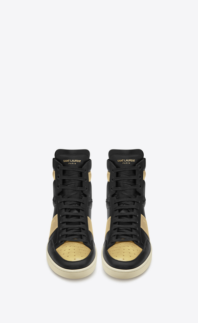 SAINT LAURENT SL/10H U signature court classic sl/10h high top sneaker in black leather and gold metallic leather b_V4