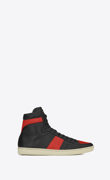 SAINT LAURENT SL/10H U signature court classic sl/10h high top sneaker in black and red leather a_V4