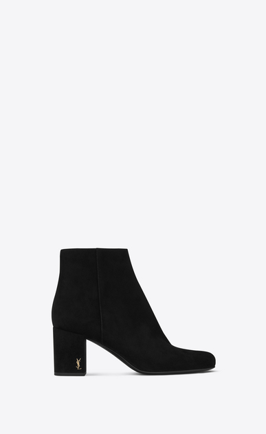 LOULOU 70 Zipped Ankle Boot in Black Suede