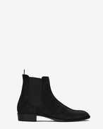 SAINT LAURENT ブーツ U classic wyatt 30 chelsea boot in black suede f