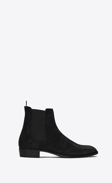 SAINT LAURENT Boots U classic wyatt 30 chelsea boot in black suede a_V4