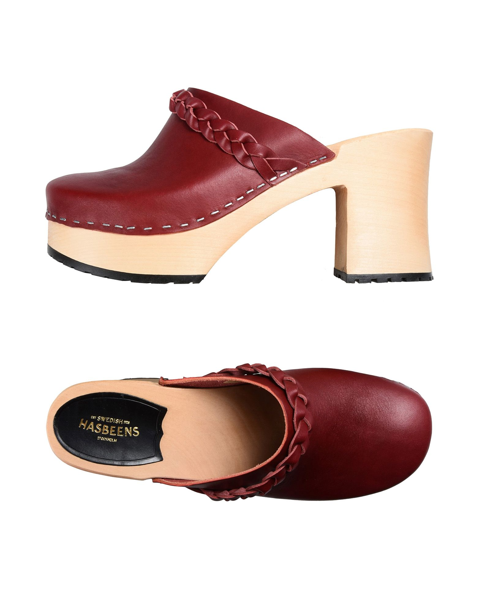 SWEDISH HASBEENS Mules in Brick Red