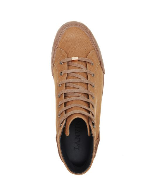 lanvin vulcanized faded cotton mid-top sneakers men
