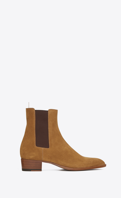 SAINT LAURENT Boots Man classic wyatt 40 chelsea boot in tan suede a_V4