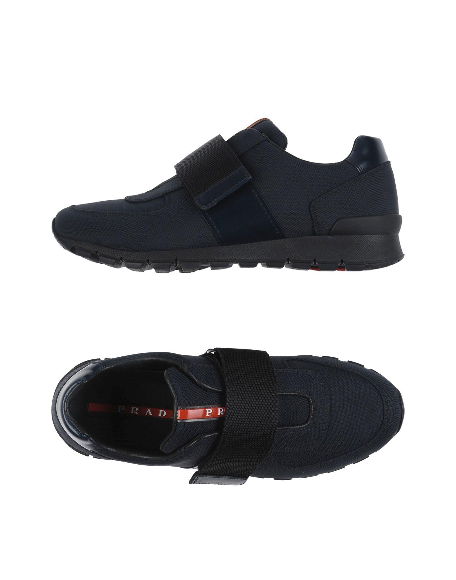 PRADA SPORT Herren Low Sneakers & Tennisschuhe Farbe Dunkelblau Größe 8