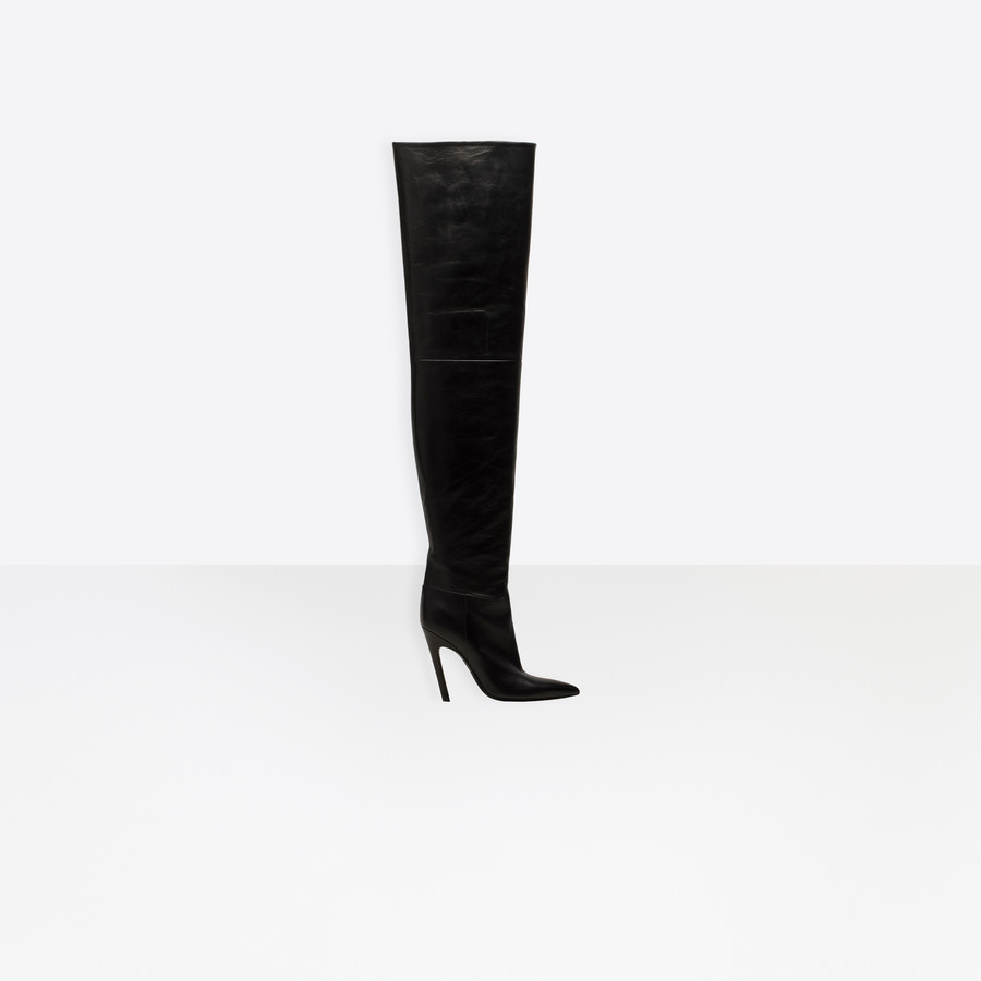 BALENCIAGA Slash Heel Over-the-Knee Boots Slash Shoes D f