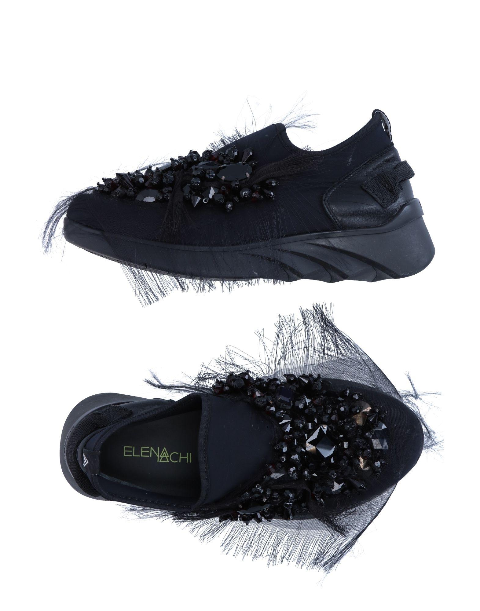 ELENA IACHI Damen Low Sneakers & Tennisschuhe Farbe Schwarz Größe 5