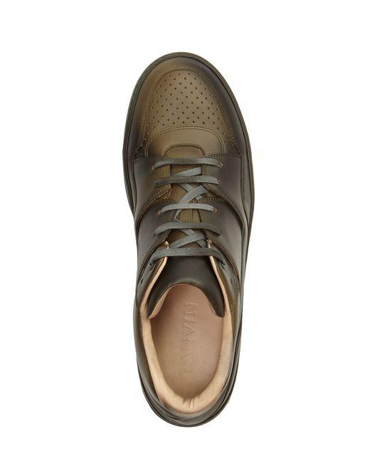 lanvin mid-top sneakers aus kalbsleder mit farbspritzer-effekt für-ihn