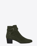 SAINT LAURENT Flat Booties D Signature BLAKE 40 Jodhpur Boot in Army Green Suede f