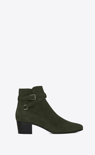 SAINT LAURENT Flat Booties D Signature BLAKE 40 Jodhpur Boot in Army Green Suede a_V4