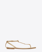 SAINT LAURENT Nu pieds D NU PIEDS 05 YSL Sandal in Pale Gold Metallic Leather f