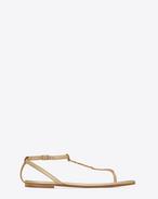 SAINT LAURENT Nu pieds D NU PIEDS 05 YSL-Sandale aus hellgoldfarbenem Metallic-Leder f