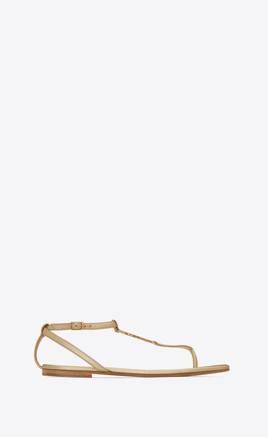 SAINT LAURENT Nu pieds D NU PIEDS 05 YSL Sandal in Pale Gold Metallic Leather a_V4