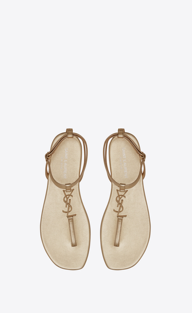 SAINT LAURENT Nu pieds D NU PIEDS 05 YSL Sandal in Pale Gold Metallic Leather b_V4