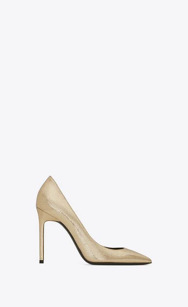 SAINT LAURENT Anja D ANJA 105 Pump in Pale Gold Cracked Metallic Leather a_V4