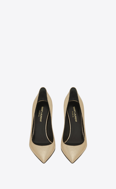 SAINT LAURENT Anja D ANJA 105 Pump in Pale Gold Cracked Metallic Leather b_V4