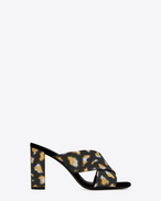 SAINT LAURENT Loulou D LOULOU 95 Crisscross Sandal in Black, Gold and Silver Metallic Jacquard f