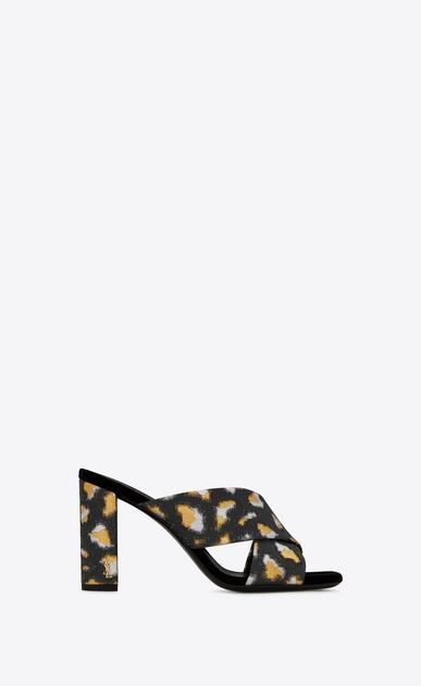 LOULOU 95 Sandale mit überkreuzten Riemchen aus schwarzem, goldfarbenem und silberfarbenem Metallic-Jacquard