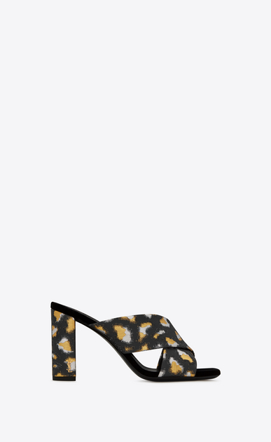 SAINT LAURENT Loulou D LOULOU 95 Crisscross Sandal in Black, Gold and Silver Metallic Jacquard v4