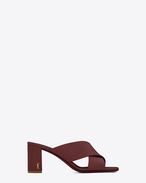 SAINT LAURENT Loulou D LOULOU 70 Crossed Sandal in Light Burgundy Leather f