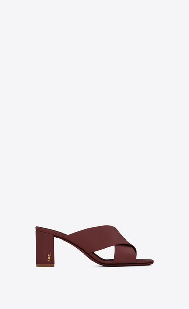 SAINT LAURENT Loulou D LOULOU 70 Crossed Sandal in Light Burgundy Leather a_V4