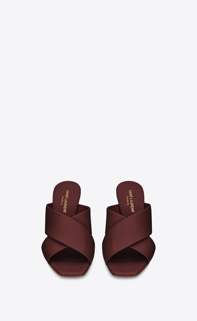 SAINT LAURENT Loulou D LOULOU 70 Crossed Sandal in Light Burgundy Leather b_V4
