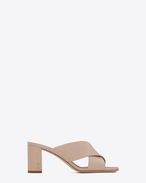 SAINT LAURENT Loulou D LOULOU 70 Crossed Sandal in Light Rose Leather f