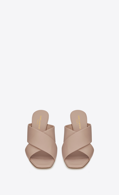 SAINT LAURENT Loulou D LOULOU 70 Crossed Sandal in Light Rose Leather b_V4