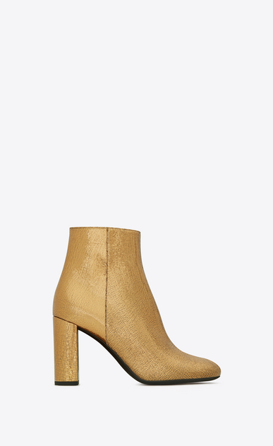 SAINT LAURENT Loulou D LOULOU 95 Zipped Ankle Boot in Bronze Metallic Leather a_V4