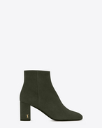 SAINT LAURENT Loulou D LOULOU 70 Zipped Ankle Boot in Army Green Suede f