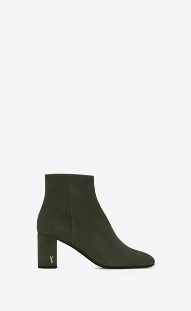 SAINT LAURENT Loulou D LOULOU 70 Zipped Ankle Boot in Army Green Suede a_V4