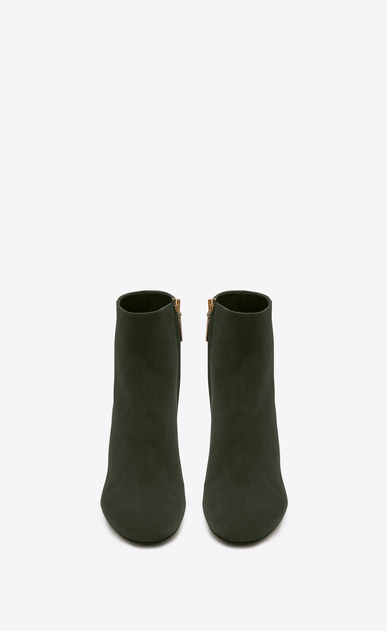 SAINT LAURENT Loulou D LOULOU 70 Zipped Ankle Boot in Army Green Suede b_V4
