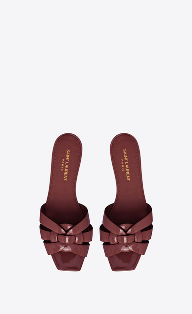 SAINT LAURENT Nu pieds Woman tribute flat sandal in patent leather b_V4