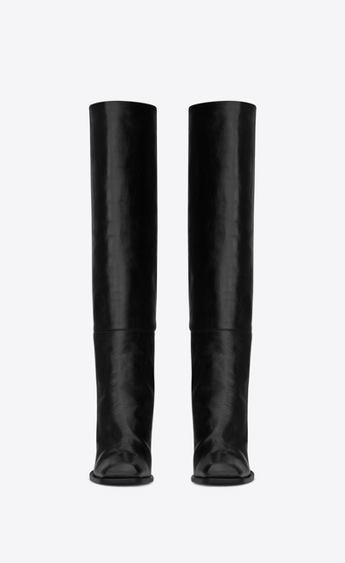 SAINT LAURENT Heel Booties D JODIE 105 Knee-High Boot in Black Leather b_V4
