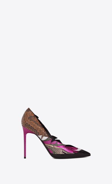 SAINT LAURENT Anja D ANJA 105 Studded Feather Pump in Multicolor Snakeskin and Leather v4