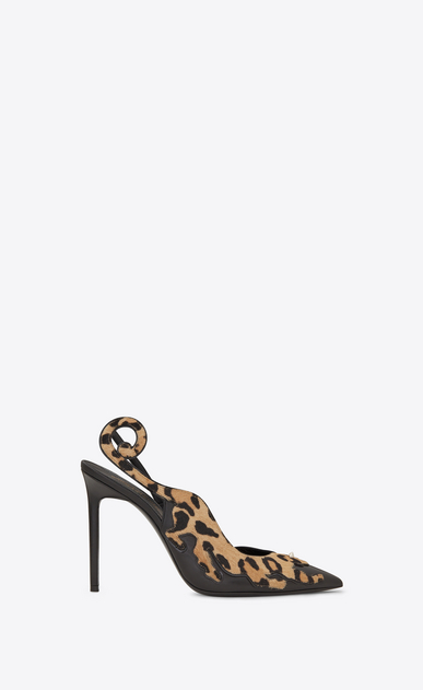 SAINT LAURENT Anja D ANJA 105 Punk Leopard Slingback Pump in Black Leather and Tan Cowhide a_V4